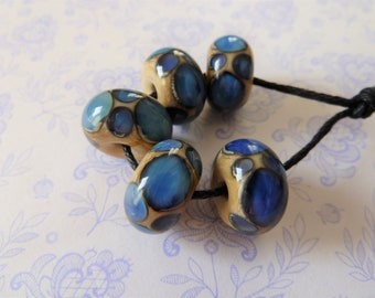 lampwork glass blue reactive spot beads, uk handmade set