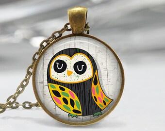 Owl Pendant, Bird Art Necklace, Owl Jewelry, Bird Art Pendant, Bird Jewelry, Owl Gift, Owl Art Pendant, Bronze, Silver, 066