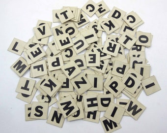 Vintage 1940s Ivory Anagrams or Letter Tiles or Game Pieces Set of 132