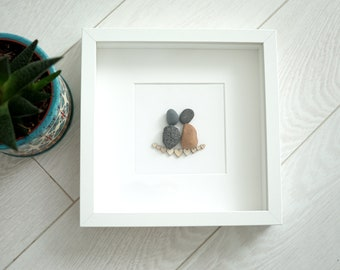 Stone wall art - rock painting - stones art - Pebble Art Love - Romantic gift for couple - 3D Art - New home housewarming gift - Beach Stone