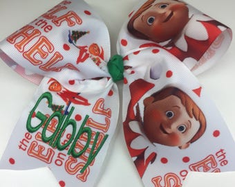 Elf On The Shelf, Monogram Any Name, Hair Bow, Christmas Holiday Bows, Hairbows, Girls Personalized, Gift Idea, Custom Boutique, Monogrammed