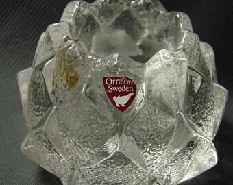 ORREFORS Sweden Firefly Artichoke votive tea light candle holder with label
