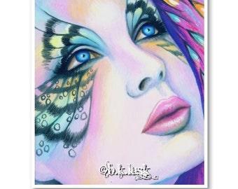 Signed 8 x 10 Print Fairy Butterfly Eyes Punk Pink Goddess Diva B. K . Lusk