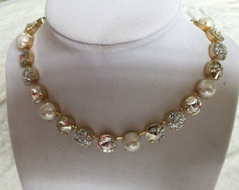 12mm swarovski crystal necklace, choker, crystal, pearl, wedding necklace- bridesmaids jewelry- gold- supporting cancer awareness