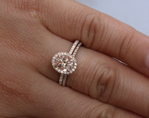 Peach Pink Morganite Bridal Ring Set 14k Rose Gold Ring with