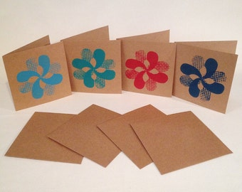 Handprinted Greeting Cards 'Acoustic Flower' acoustic guitar bland card
