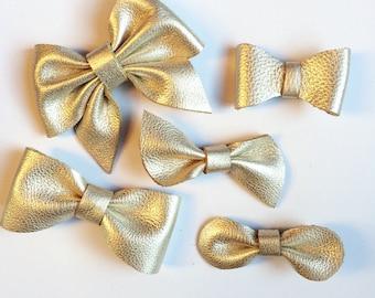 Platinum Leather Hair Bow Clip, metallic, barrette, baby clip, nylon headband