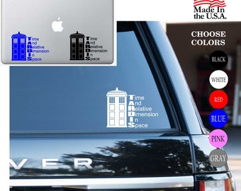 Dr. Who TARDIS Time And RELATIVE DIMENSION In Space The Phone Box Vinyl Decal Sticker - Car Window, Laptop, Wall, Room