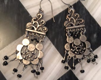 Tribal Bronze Tone Stamped Metal Boho Dangle Black Beaded Chandelier Earrings