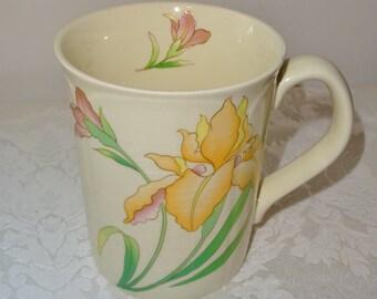 Vintage Otagiri Peach Iris Floral Mug Japan