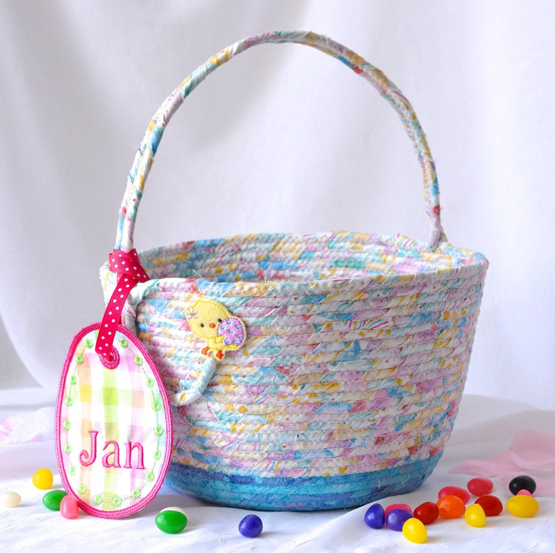 Girl easter basket handmade flower girl basket 6h cute easter girl easter basket handmade flower girl basket 6h cute easter decoration easter egg hunt bag pink and blue quilted easter bucket negle Gallery