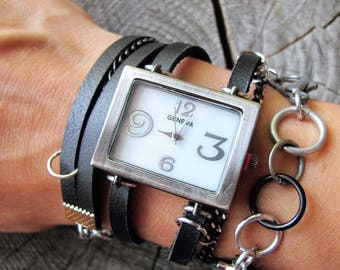 Leather Wrap Watch ~ Black Leather Watch ~ Leather and Chain Watch ~ Black Wrist Watch ~ Womens Leather Watch ~ Wrap Leather Watch ~ Watch