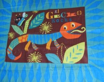 "Fleece panel 48"" x 60"" new 100% polyester blizzard El Gecko"