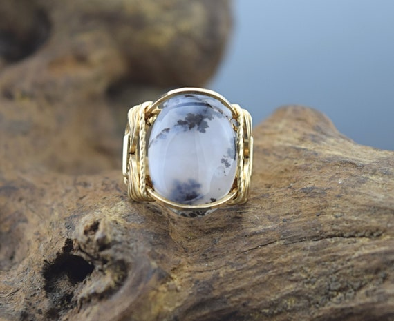 14 K Gold Filled Dendritic Or Black Moss Agate Cabochon Wire