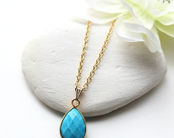 Small Turquoise Necklace  -  Gold Turquoise Necklace -  December Birthstone Necklace Jewelry Jewellry -  Turquoise Jewellery Jewelry - B72