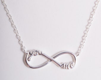 Sterling silver 925 silver you and me infinity symbol chain necklace