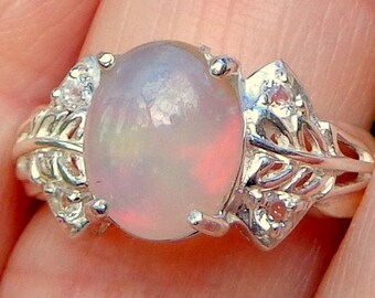 Sz 7, Welo Opal, Sparkling White Topaz Ring,Natural Gem Ring,Lavender,Peach,Green,Transparent Opals,Ethopian Opal Ring,Mystical Gem Ring