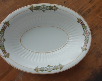 KT&K Knowles Taylor and Knowles Oval Serving Bowl-Vintage 1920s-Antique oval serving bowl