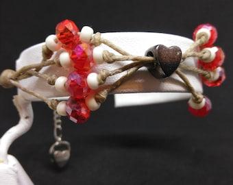 Red and white hemp bracelet