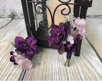 Plum Boutonnière, Purple Boutonnière, Lavender Boutonniere, Men's Boutonnière, Silk Boutonnière, Wedding Flowers, Silk Flowers
