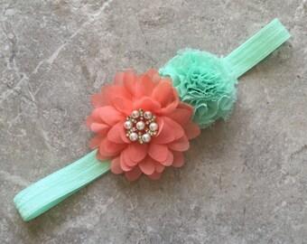 Baby headband, Baby Hair Bow, flower headband, baby headbands, shabby chic roses, baby girl headband, hair bows, coral mint headband