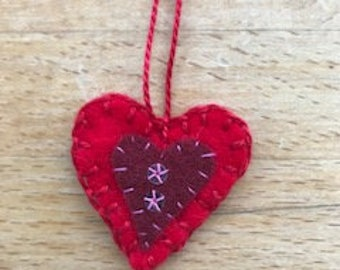 Red felt Valentine's love heart hanging decoration