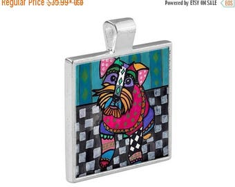 Miniature Schnauzer Dog Folk Art Jewelry - Pendant Metal  Gift Art Heather Galler Gift - Dog Lovers Pet Art Vegan Gifts