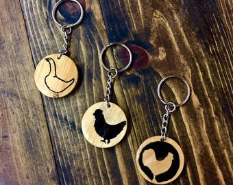 Poultry Wood Keychains