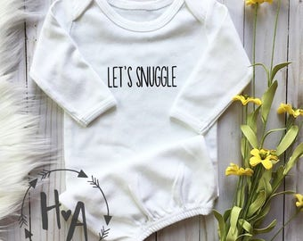 Let's Snuggle (front) Best Snuggles Ever (back) Baby Gown (WHITE) | Newborn Gown / Going Home Outfit / Baby Shower Gift