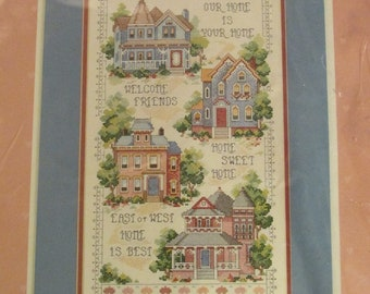Dimensions Our Home Is Your Home Counted Cross Stitch Kit 1991 Vintage 1990s House Sampler 53556