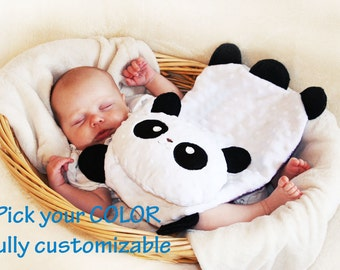 Minky Panda Bear Security Blanket, Lovey Blanket, Satin, Baby Blanket, Stuffed Animal, Baby Toy - Customize Color - Add Monogramming