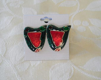 Green Red Gold Tone Enameled Glazed Post Pierced Earrings