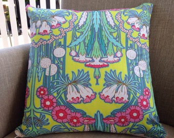 "Amy Butler Soul Blossoms ""Fuschia Tree"" in chartreuse 45cm square cushion cover with EST French linen backing"