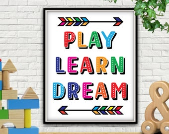 Play Learn Dream, PRINTABLE, Nursery Decor, Nursery Wall Art, Nursery Art, Nursery Prints, Nursery Wall Decor, Nursery Printables, Nursery