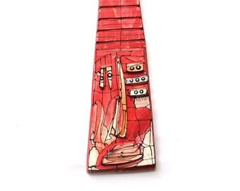 Large abstract mask, Red modern sculpture, Long wall mask, Large wall sculpture, Fynky red sculpture, Clown head sculpure, Wall  mask art
