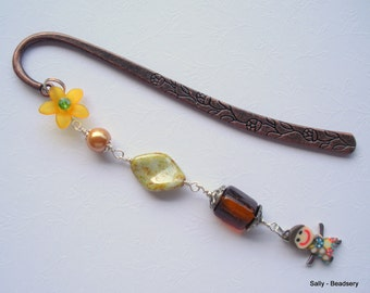 Unique Bookmark, Metal Bookmark, Doll Bookmark, Beaded Bookmark, Reading Accessories, Gift for Book Lover, Book Club Gift, Cute Gift Ideas