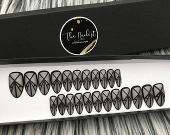 Ready to Ship! Black Geometric pattern Regular Stiletto Shape Full 24 Tips Set Press On Nails | False Nails | Glue On Nails | The Nailest
