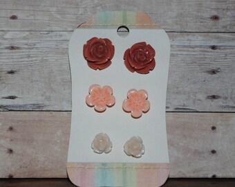 3 Pair Carded Set of Resin Flower Earrings Light Terra Cotta Peach Cream Perfect Teacher's Gifts
