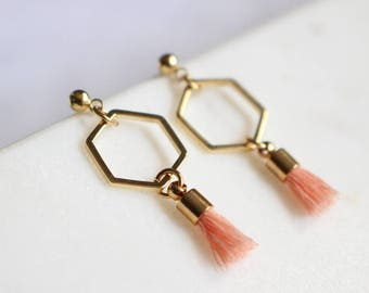 Hexagon and Tassel earrings in gold, Coral earrings, Geometric Studs, Bridesmaid gift, Wedding earrings, Bridesmaid earrings, Gift