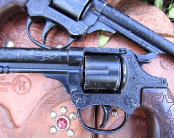 Vintage Leather Duel Holster Set With Two Spainish Pistols