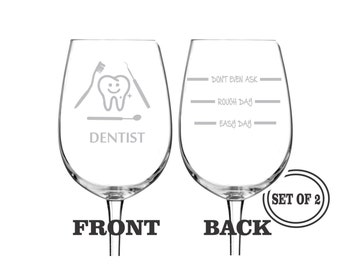 2 DENTIST ETCHED Wine Glasses Set of 2 Engraved Wine Glasses Gift for Dentist Funny Wine Glasses Gift Toasting Glasses Cocktail Glass