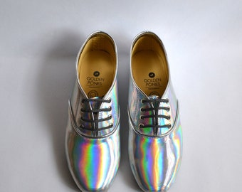Mirrored holographic vegan faux leather pony oxford shoes (Handmade to Order)