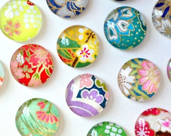 MOST POPULAR - Mixed Bag- set of 4 or 8 Glass Magnets or Push Pins - Japanese Chiyogami paper - assorted designs- colorful pretty floral