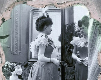 Photography Woman in the Mirror Photographic print from Glass Negative