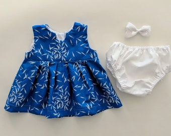 6-12 Mo Blue Fish Top and Bloomer Set