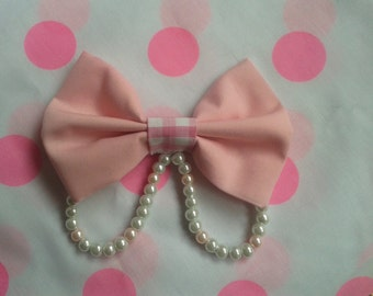 Pink Sweet Kawaii Lolita Bow with Pearls and Gingham