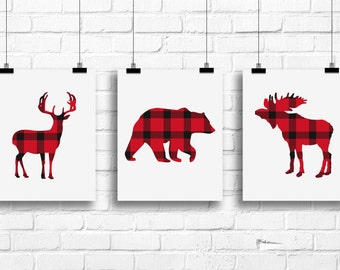 Woodland Nursery Decor, Red plaid Nursery Wall Art, Forest animals Art Prints, deer bear moose Posters Nursery, lumberjack wall art, A-3085