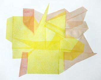VENUS STONE V. linocut monotype print by Paulina Varregn, ooak wall decor