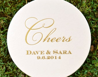 """Personalized """"Cheers"""" Wedding Coasters, Custom Coaster, Paper Coaster, Drink Coasters, Party Favor Coasters, Anniversary"""