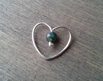 Heart daith earring, daith piercing earring, moss agate unusual earring, cartilage earring, daith hoop cartilage ear cuff, 20 gauge 18 gauge